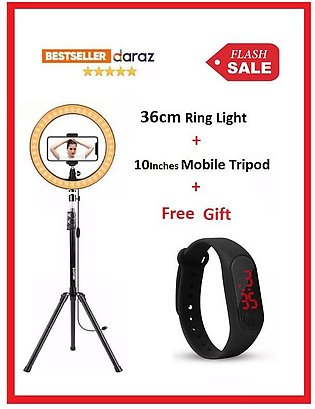 Ring Light 26cm/10 inch with 7.5ft Tripod Stand & Phone Holder .