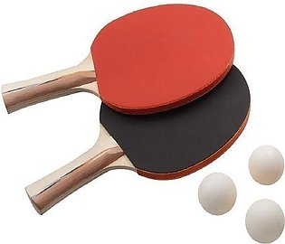 Table Tennis Racket Pair with 3 Balls - Red & Black