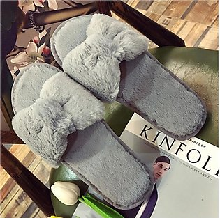 Women Warm Solid Bow Knot Plush Soft Slippers IndoorsFloor Bed Room Shoes