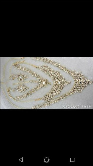 Lead Bridal set with Teeka Matha Patti and Earrings Silver and Golden, Party ...
