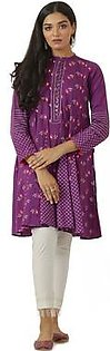 EGO Winter Collection 2019 Purple Ray Purple Cotton Kurti For Women