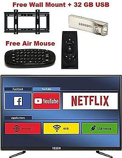 Icon Icon 32 Inch LED Full HD Android Smart TV With free Wall Mount+32 GB USB+Air Mouse