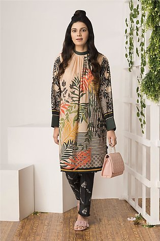 BTW Unstitched Ivory Charm 2 Pc Printed shirt for Women