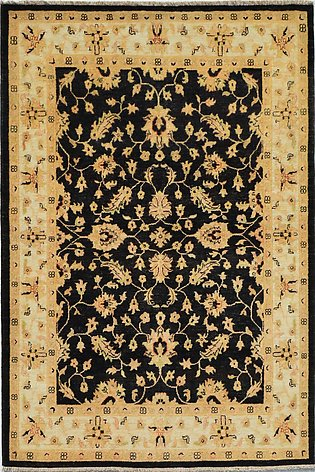 5 X 7 Black Color  Zeigler Vegetable dye hand-knotted rug with Wool on Cotton...