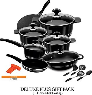Deluxe Plus Cookware Gift Pack With PTF Non Stick Coating 18 Pcs
