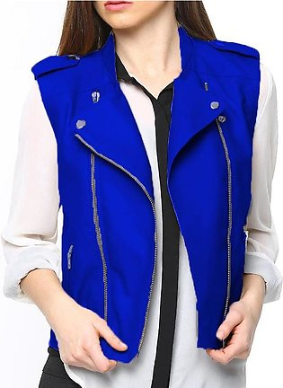 Blue Ladies Leather Jacket For Women