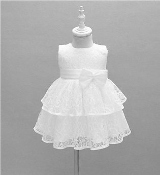 White Self Embroidered Frock For Baby Girl