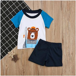 Children'S Summer Boys Boy Cubs Pattern Short Sleeve Top + Shorts Two Pieces Se…