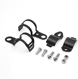 Universal Motorcycle Turn Signals Light Clamps Mount Bracket For Front Fork Bla…