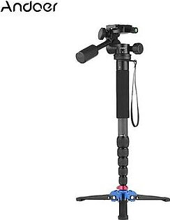 """Andoer Portable Carbon Fiber 6-Section Monopod with 3 Way Camera Video Damping Head Unipod Holder Max. Height 169cm 1/4"""" Screw Mount for Canon Nikon Sony DSLR ILDC Camera DV Max. Load Capacity 10kg"""