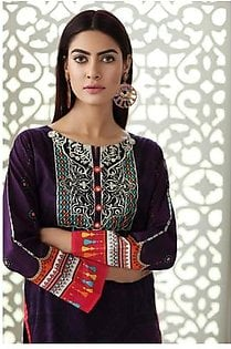 So Kamal Women EID Collection Purple 1 PCS Pret - Embroidered Lawn Int:XS DPL 19-332