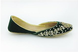 Milli Shoes - Green Ladies Fancy Khussa - 7540