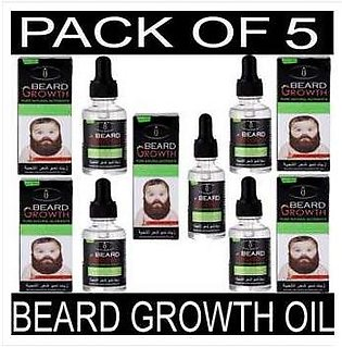 Pack Of 5 Natural Beard Oil For Mustache Growth & Hair Loss Treatment