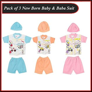 Pack Of 3 New Born Baby Jersey Suit with Cap - Zero Size