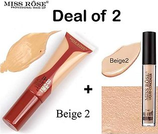 Deal of 2 Miss Rose Makeup BB Base Foundation Beige 2 Full Coverage and Miss Ro…
