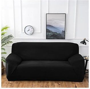 Polar Fleece Thickened Spandex Elastic Stretch Sofa Cover Slipcover Couch Charcoal Black 4 Seater Pillow Case Chair Cover