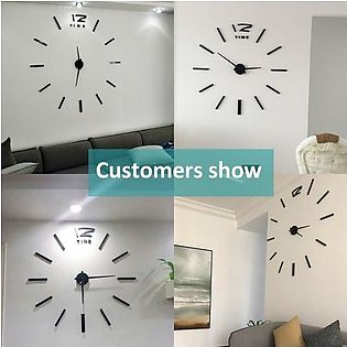 Modern DIY Wall Clock Large Frameless 3D Wall Clock Mirror Stick