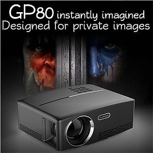 GP80 Mini Projector 1800 Lumens LED Full Color 1080P Video Media HDMI VGA Home …