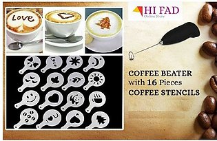 Coffee Beater with 16 Stencils