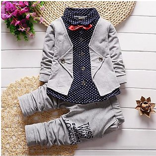 0-4 years baby boys attractive Grey handsome bow waist coat attached shirt with…