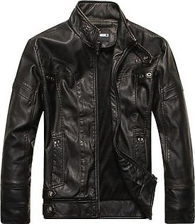 Men Motorcycle Leather Jacket Zipper Cool Fashionable Slim Fit PU Coat Top