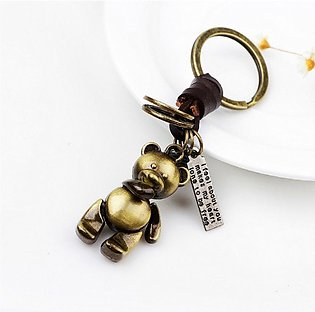 Creative Mini Bear Shape Keychain With Hand Weave Leather Keychains For Men