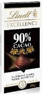 Lindt Excellence 90% Cocoa Dark Chocolate Bar, 100 g