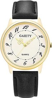 Gaiety Brand Luxury Leather Strap Gold Dial Quartz Casual Dress Watch