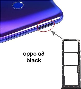 OPPO A3 Black Dual Sim Card Tray And Micro SD Card Slot Holder