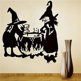 Wall Stickers Decals Halloween Witch Background Wall Sticker Window Home Deco...