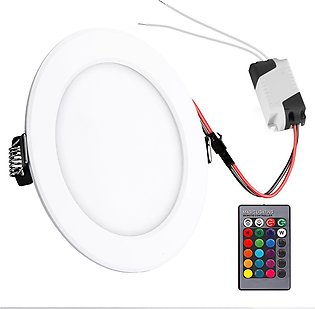 5W round RGB LED panel light concealed ceiling light with remote control AC 85-…