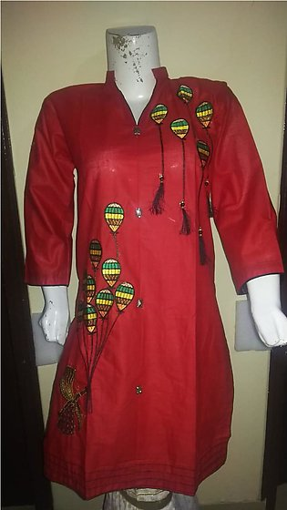Red color embroidered & stitched shirt for females stuff cotton by A-J Corner