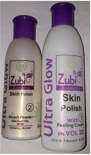 Zubi Ultra Glow Skin Polish With Peeling Cream 6% Vol 20- 1- 200 Gm And 2 Ble...