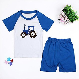 Children'S Summer Set Boy Blue Car Short Sleeve Shorts Home Wear Two-Piece Set …