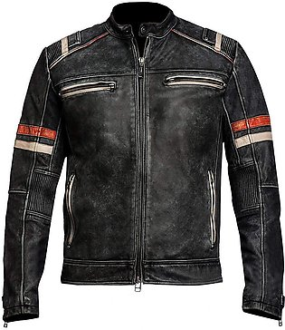 Genuine Leather Jacket Men Rough Biker Vintage Distressed Black Motorcycle Style