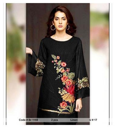 Br 1155 Latest PAKISTANI DRESS Mid Summer and winter LADIES 2 PIECE Linen Collection UNSTITCTED Suit