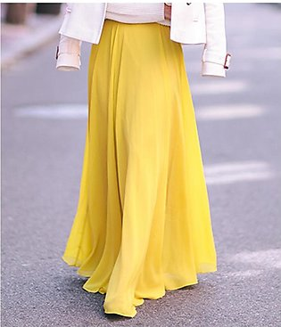 STYLE UP Yellow Chiffon ankle length Long Maxi Pleated Skirt For Women, Skirt...
