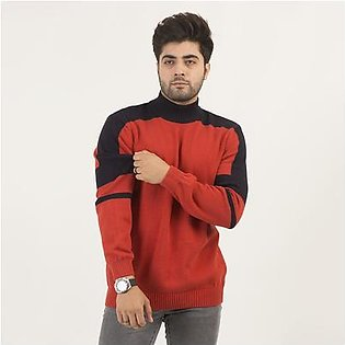 Oxford Mock Neck Sweater with Constrasting Sleeves For Men