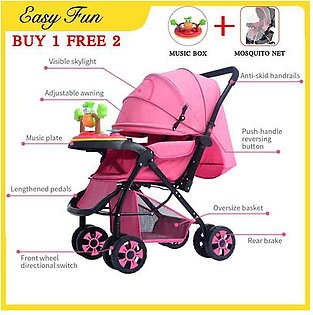 [Baby Stroller]with Music Box+ Mosquito Net Stroller Can Sit Reclining and Increase Stroller Two-way Cart