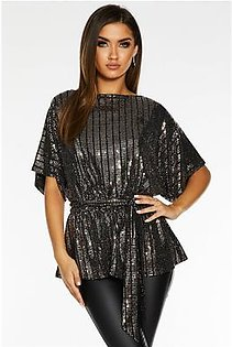 Quiz Gold and Black Sequin Batwing Belted Top - 00100023465
