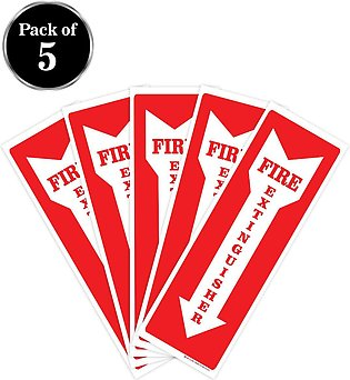 Fire Extinguisher Signs Stickers – 5 Pack 4x12 Inch