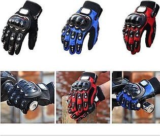 Pair of Probiker Leather Motorcycle Gloves - Black