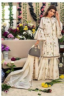 """GA - GUL Ahmed-Eid Collection 2019 Off White Embroided -3PC Unstitched-FE-186-203509"""""""