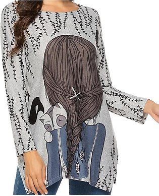 Women Fashion  Casual Cartoon Printing O-Neck Bandage Blouse T-Shirt Tops