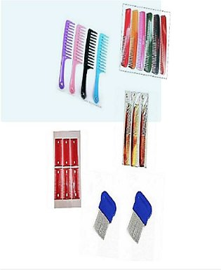Pack Of 21 - 13 Pcs Plastic Hair Comb And 6- Hair Anti Lice Comb Colorful Kangi…