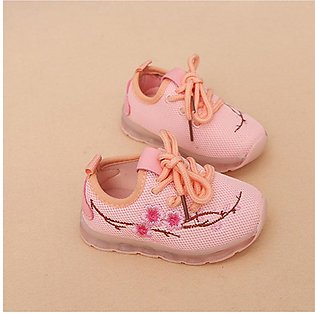 UR Autumn Embroidered Lights Shoes Boys And Girls Luminous Mesh Led