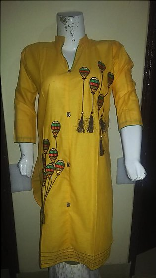 Yellow color embroidered & stitched shirt for females stuff cotton by A-J Corner