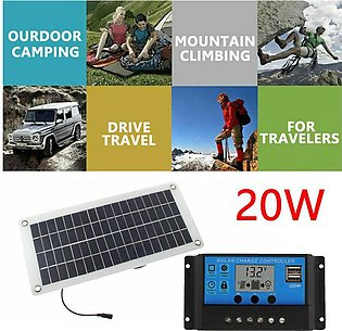 MA 20W Solar Panel kit 12V Charge w/ Controller Caravan Boat Home Camp RV