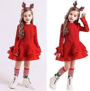Girl Baby Christmas Sweater Knit Crochet Hairb