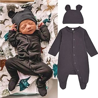 ✫Good Quality✫ Newborn Infant Baby Boy Girl Solid Romper Jumpsuit+ Hat Outfits …